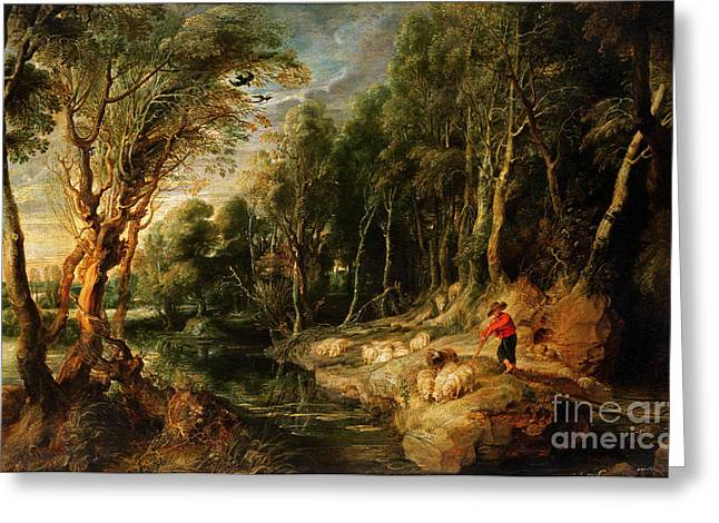 Peter Paul (1577-1640) Greeting Cards - A Shepherd with his Flock in a Woody landscape Greeting Card by Rubens