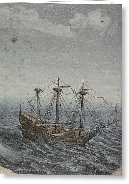 1711 Greeting Cards - A Ship in a Stormy Sea Greeting Card by Celestial Images