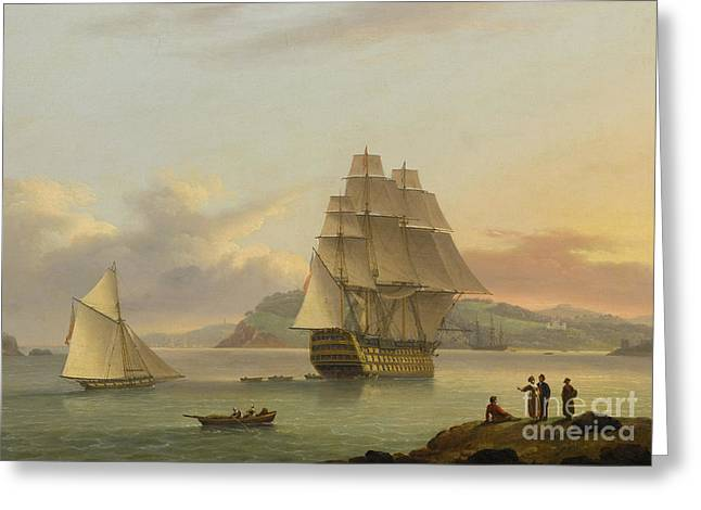 A Ship Of The Line Off Plymouth, 1817 Greeting Card by Thomas Luny