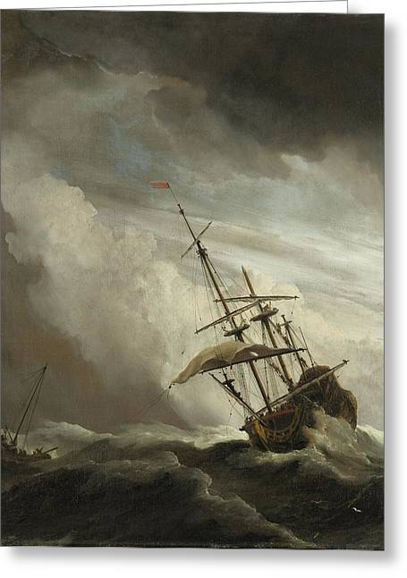 1680 Greeting Cards - A Ship on the High Seas Caught by a Squall Greeting Card by Celestial Images