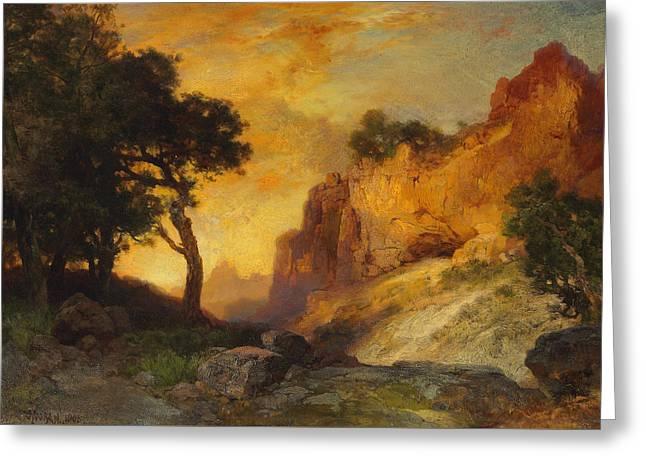 A Side Canyon Greeting Card by Thomas Moran