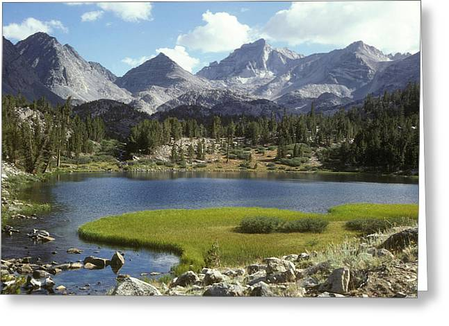 Heart Lake Greeting Cards - A Sierra Mountain Lake In Summer Greeting Card by Stephen Sharnoff