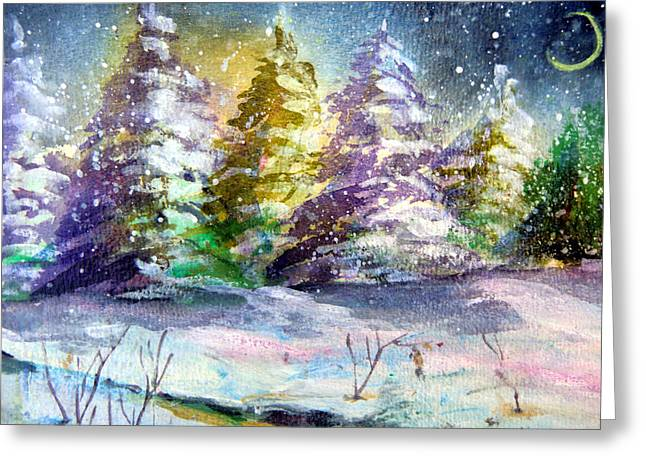 Winter Night Drawings Greeting Cards - A Silent Night Greeting Card by Mindy Newman