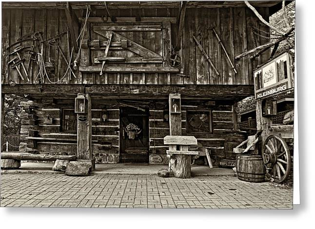 Log Cabins Greeting Cards - A Simpler Time sepia Greeting Card by Steve Harrington