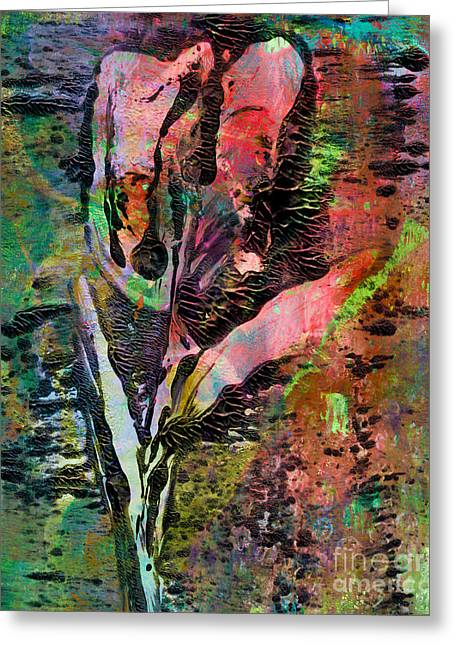 Printmaking Greeting Cards - A Single Abstract Flower Greeting Card by Laura L Leatherwood