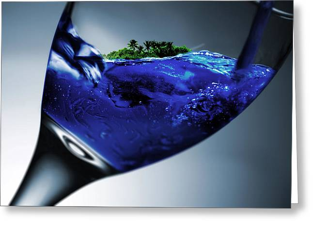 Pouring Greeting Cards - A Sip Of The Tropics Greeting Card by Jonny Lindner