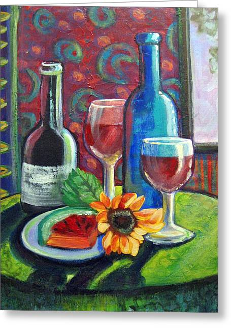 Canvas Wine Prints Mixed Media Greeting Cards - A sip or two Greeting Card by Katherine Boritzke