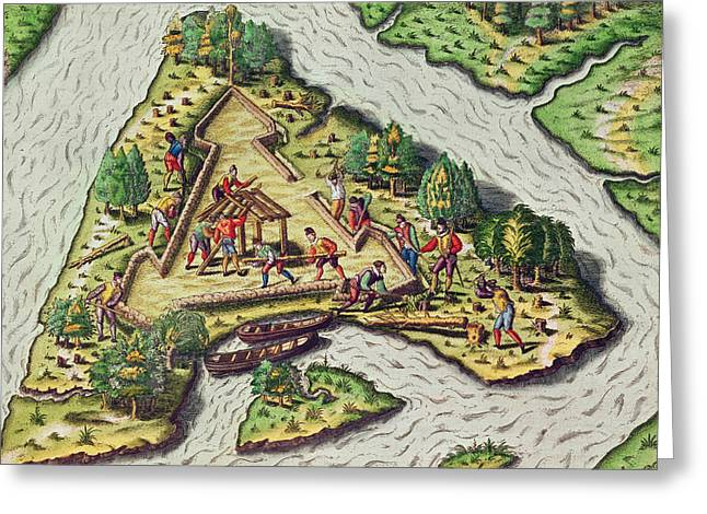 Triangular Greeting Cards - A Site for the Fort is Chosen Greeting Card by Theodore de Bry