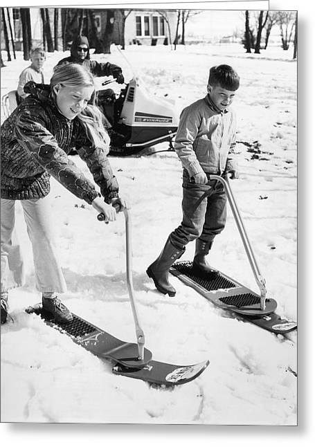 Steering Greeting Cards - A Ski Board With Steering Greeting Card by Underwood Archives