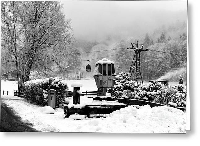 A Ski Lift In The Alps Greeting Card by John Rizzuto