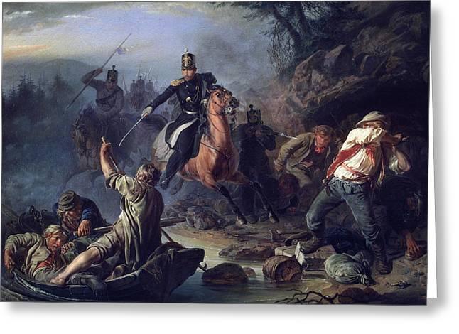 A Skirmish With Smugglers Greeting Card by Vasily Grigorievich Khudyakov