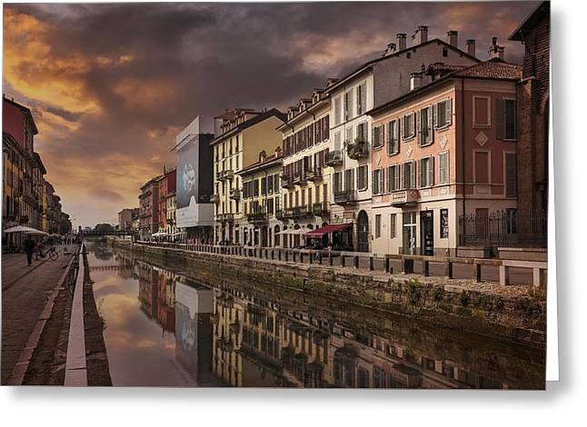 City Art Greeting Cards - A Sleepy Sunday at Naviglio Grande Greeting Card by Carol Japp