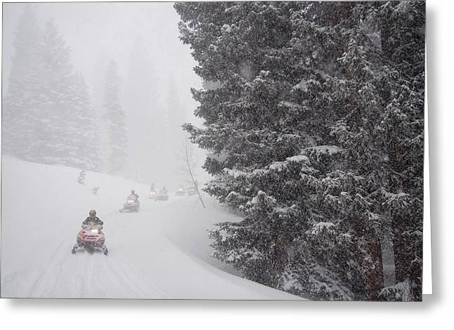 Snowmobile Greeting Cards - A Small Group Of Snowmobilers Turn Greeting Card by Taylor S. Kennedy