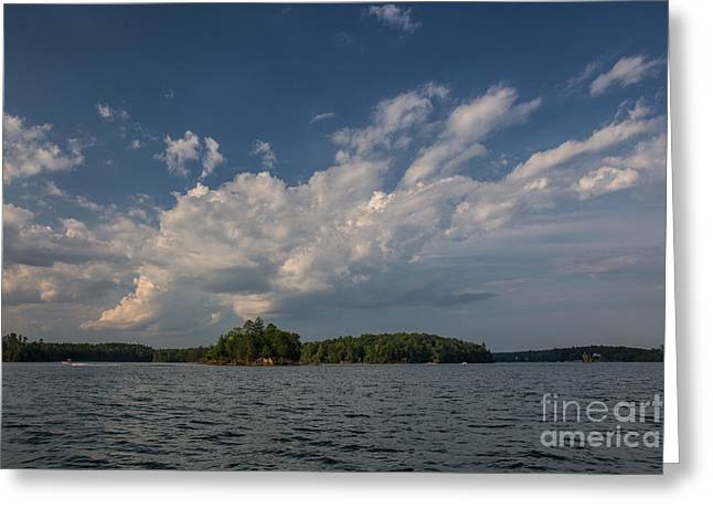 Sunset Posters Greeting Cards - A small island at Lake James Greeting Card by Robert Loe