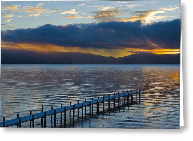 Sunrise Over California Greeting Cards - A Snow Covered Pier On Lake Tahoe Greeting Card by James Forte
