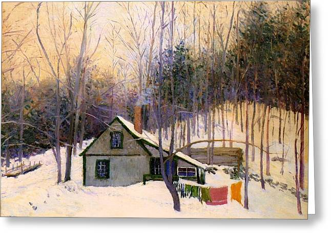 Snow-covered Landscape Greeting Cards - A Snowy Monday Greeting Card by Lilla Cabot Perry