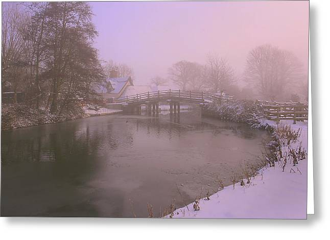 A Snowy Sunset Greeting Card by James Tully