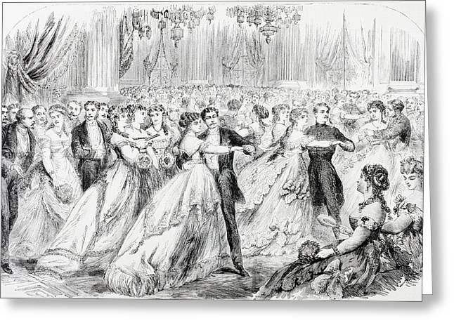 High Society Drawings Greeting Cards - A Society Ball In Paris In The 1860 S Greeting Card by Ken Welsh