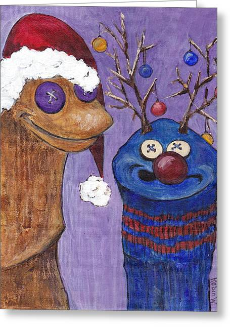 Rudolph Paintings Greeting Cards - A Sock Puppet Christmas Greeting Card by Robin Wiesneth