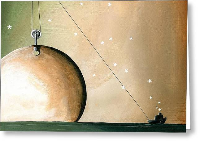 Planet Paintings Greeting Cards - A Solar System Greeting Card by Cindy Thornton