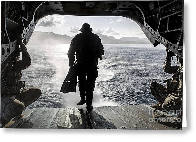 A Soldier Conducts A Combat Dive Greeting Card by Stocktrek Images