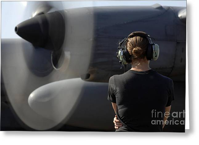 Aircraft Engine Greeting Cards - A Soldier Monitors The Performance Greeting Card by Stocktrek Images
