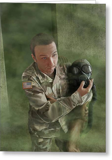 A Soldier's Heart Greeting Card by Stephanie Shimerdla