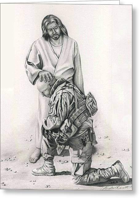 Iraq Drawings Greeting Cards - A Soldiers Prayer Greeting Card by Linda Bissett