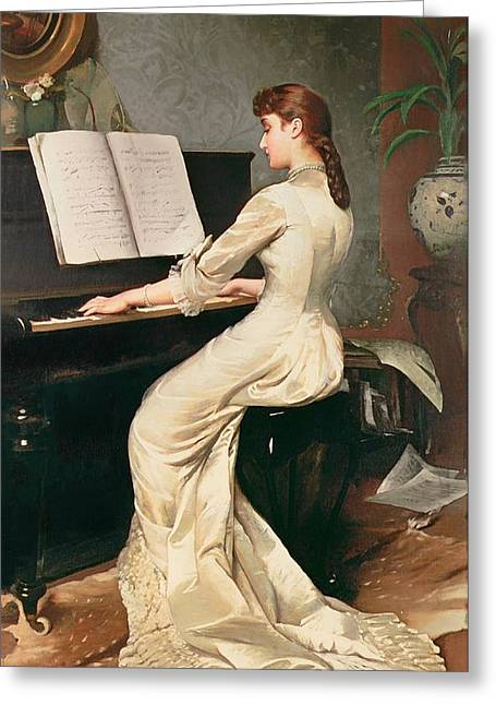 Playing Musical Instruments Greeting Cards - A Song Without Words Greeting Card by John Hamilton Barrable