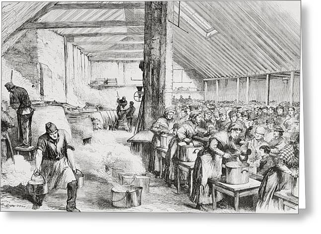 A Soup Kichen Serving Food To The Poor Greeting Card by Vintage Design Pics