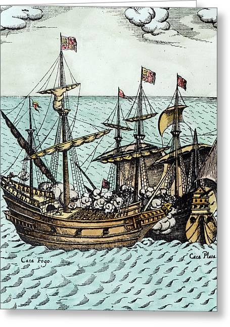 Water Vessels Greeting Cards - A Spanish Treasure Ship Plundered by Francis Drake Greeting Card by Dutch School