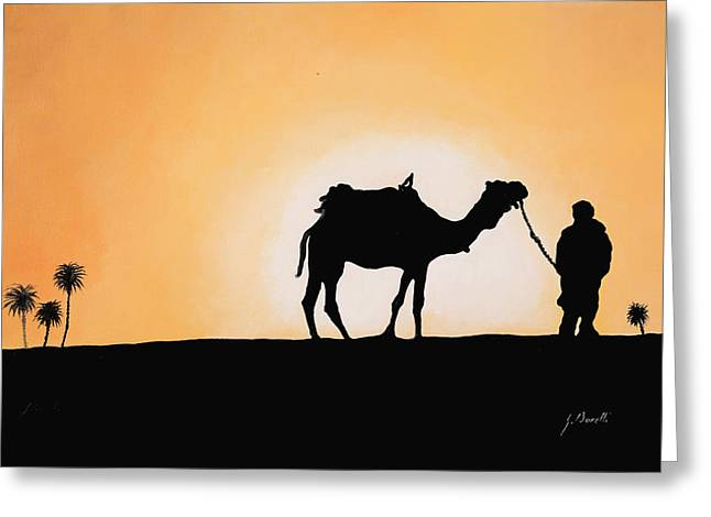 Desert Greeting Cards - A Spasso Col Cammello Greeting Card by Guido Borelli