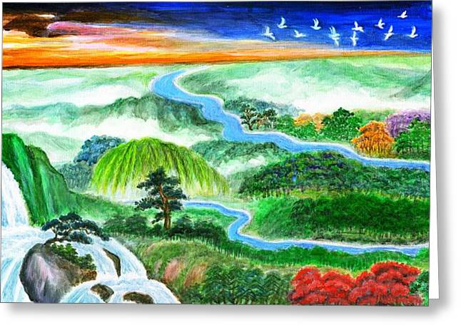 Inner Self Paintings Greeting Cards - A Spiritual Oasis -Panorama Greeting Card by Zong Yi