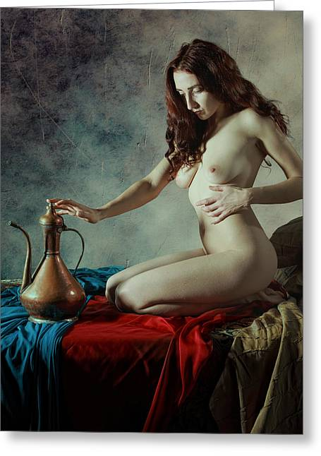 Nude Art Greeting Cards - A Splash Of Red Greeting Card by Mel Brackstone