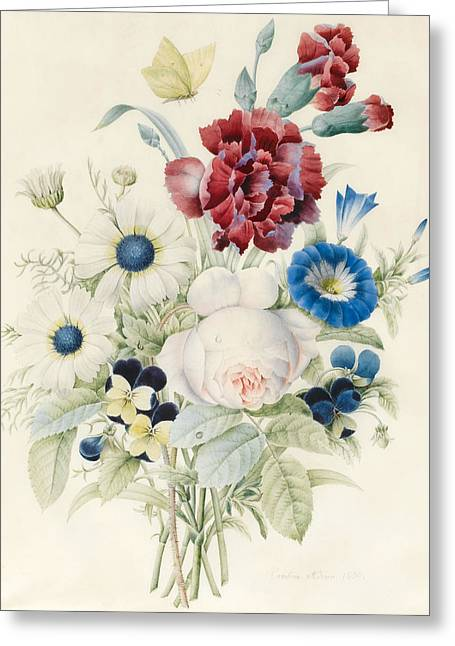 A Spray Of Flowers Including A Rose A Blue Convolvulus And Pansies Greeting Card by Caroline Adrien