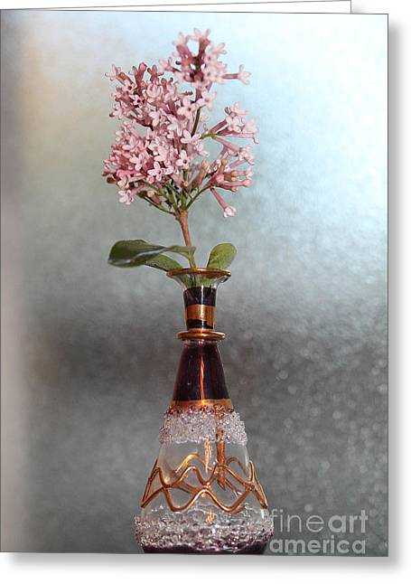 Glass Bottle Greeting Cards - A Sprig of Spring Greeting Card by Nina Silver