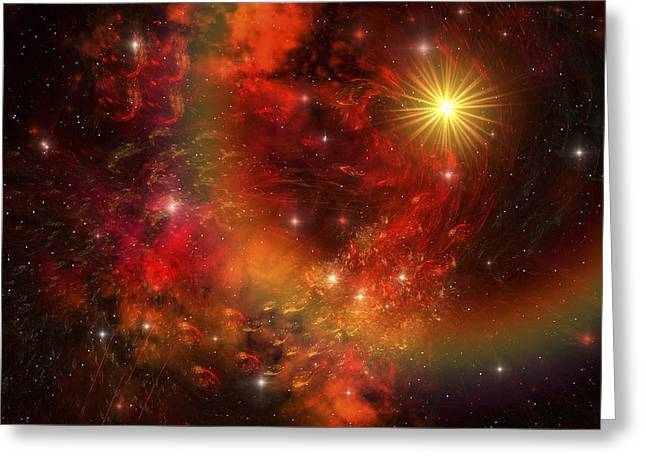 Interstellar Space Digital Art Greeting Cards - A Star Explodes Sending Out Shock Waves Greeting Card by Corey Ford