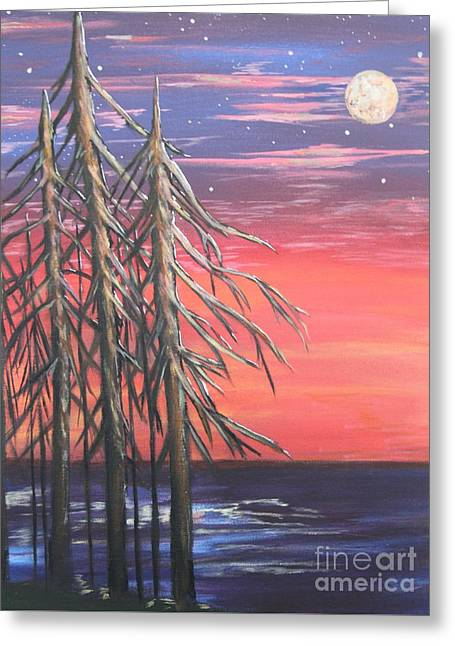 Sea Moon Full Moon Greeting Cards - A Star Lit Night Greeting Card by Karen Vaillancourt