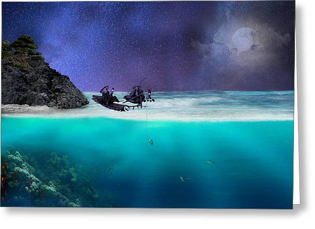 Night Scenes Greeting Cards - A starry night Greeting Card by Sheela Ajith