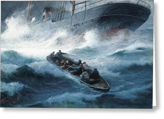 A Steam Yacht Foundering In A Storm With Rescue At Hand Greeting Card by MotionAge Designs