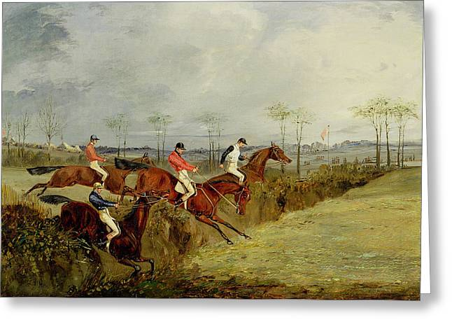 Jockey Greeting Cards - A Steeplechase - Taking a Hedge and Ditch  Greeting Card by Henry Thomas Alken