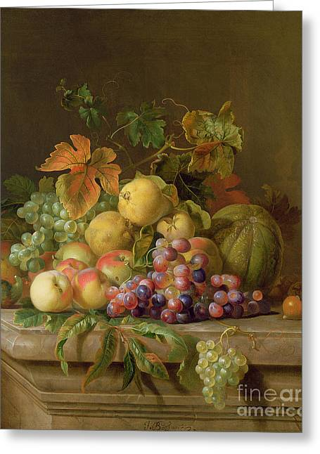 Still Life Glass Greeting Cards - A Still Life of Melons Grapes and Peaches on a Ledge Greeting Card by Jakob Bogdani
