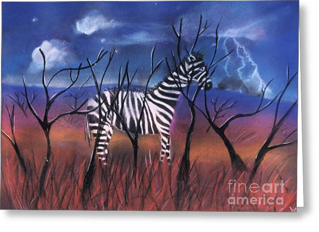 Lightning Pastels Greeting Cards - A Stormy Night for a Zebra  Greeting Card by Caroline Peacock