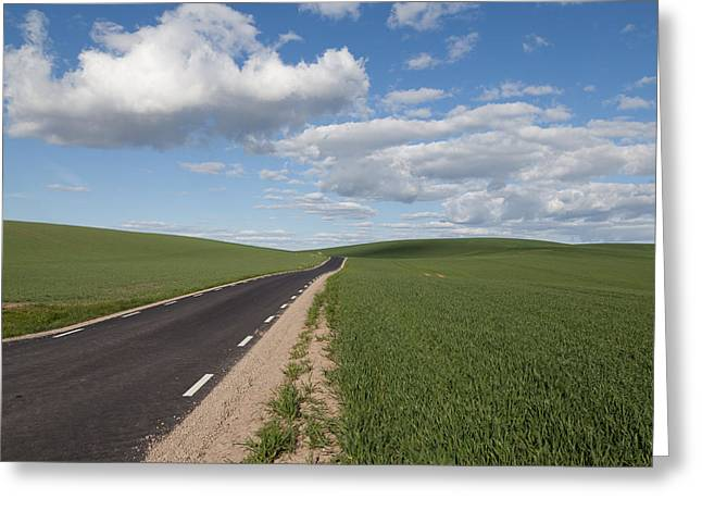 Scenic Drive Greeting Cards - A straight road Greeting Card by Jorgen Nilsson