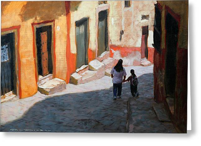 Tom Dickson Greeting Cards - A Street In Guanajuato Greeting Card by Tom Dickson