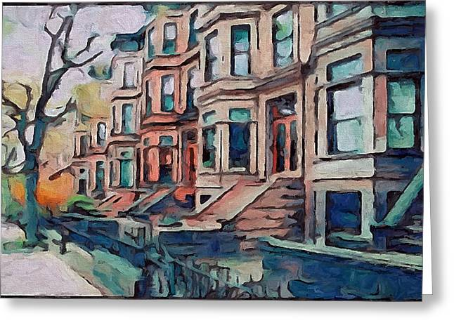 Live Art Greeting Cards - A Street in New York Greeting Card by Yury Malkov