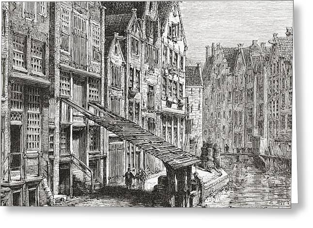 A Street In Old Amsterdam, The Greeting Card by Vintage Design Pics