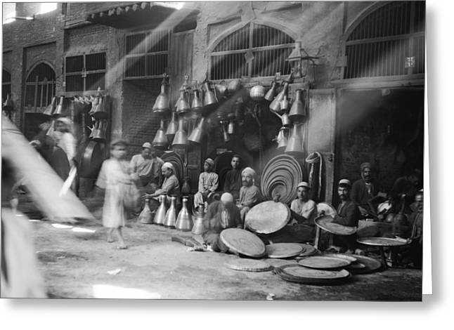 A Street Scene In Baghdad Greeting Card by Underwood Archives