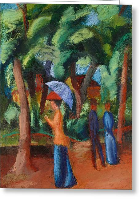 Gouache Abstract Greeting Cards - A Stroll in the Park Greeting Card by August Macke