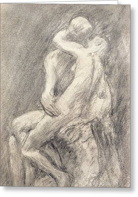 Figure Study Pastels Greeting Cards - A Study of Rodins Kiss in his Studio Greeting Card by Gwen John